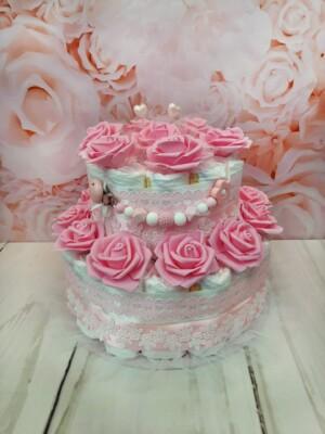 roosa kahekordne mähkmetort